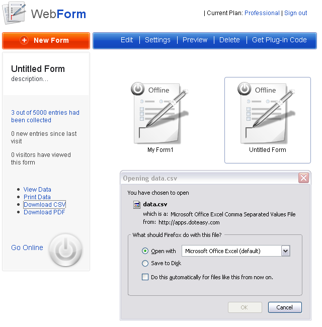 Hosted Webform | Doteasy